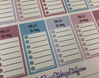 Bills To Pay Stickers for Passion Planner, Erin Condren, Happy Planner, Filofax, Bujo....etc