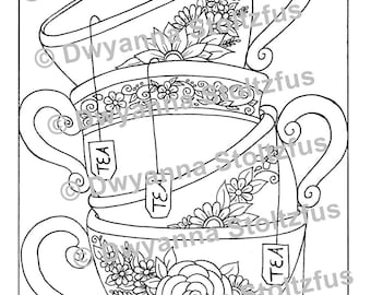 Free Teacup Coloring Page, Download Free Clip Art, Free Clip Art ... | 270x340