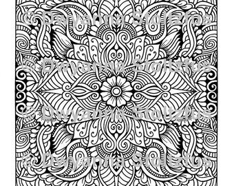 Mirrored Paisley Design Coloring Page JPG