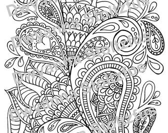 Floral Paisley Coloring Page JPG
