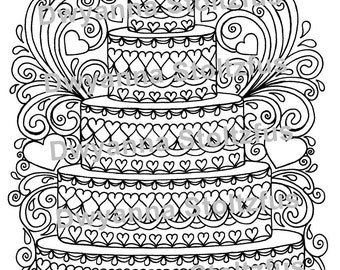 Cake coloring page | Etsy