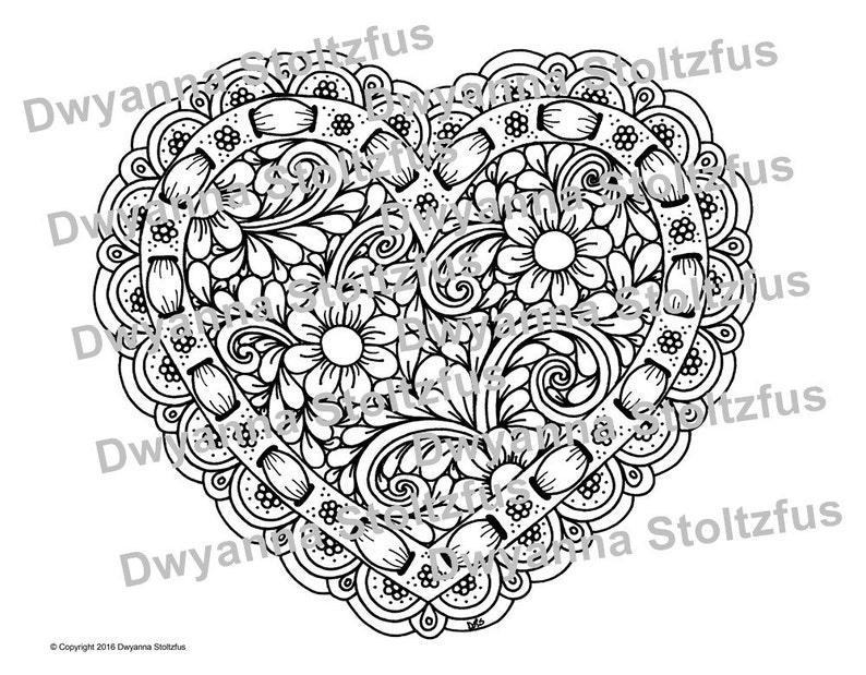 Heart with Ribbon Coloring Page JPG | Etsy