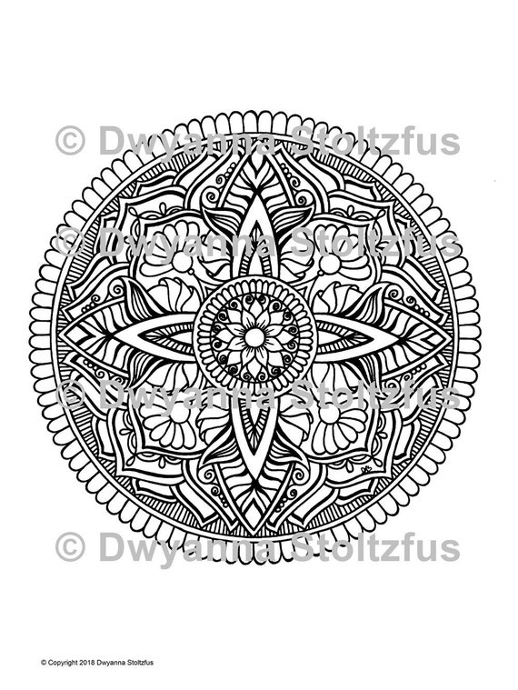 Extreme Stress Relief Mandala 7 Coloring Page Jpg Etsy