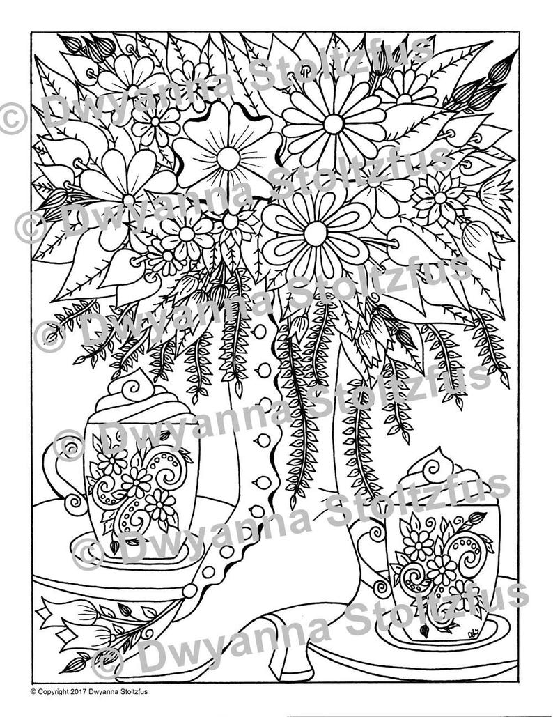 Victorian Tea Party Coloring Page JPG | Etsy