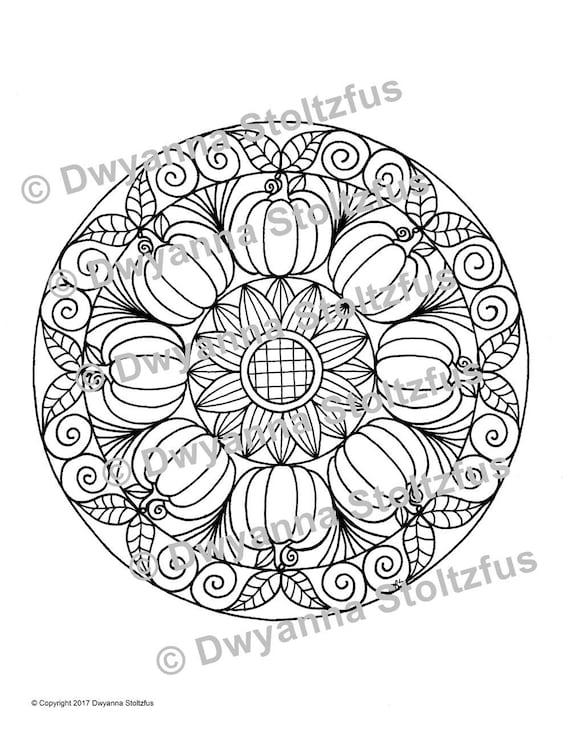 8 Pumpkin Mandala Coloring Page Jpg Etsy