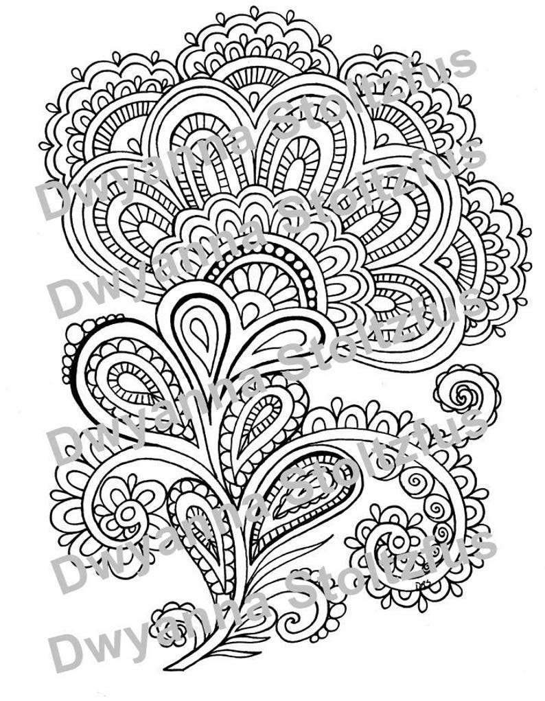 Beautiful Henna Flower Design Coloring Page Jpg Etsy