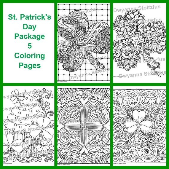 St. Patrick's Day Package  5 Coloring Pages JPG