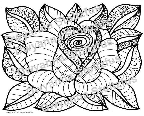 Doodled Rose Coloring Page Jpg