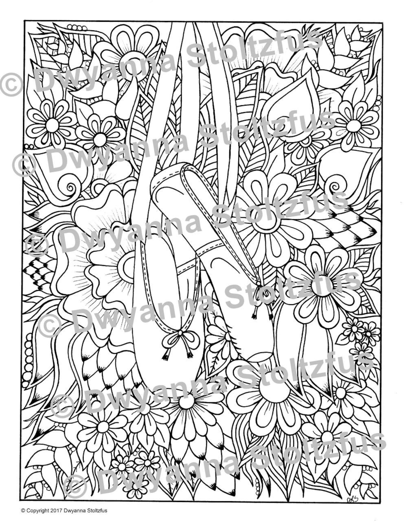 hanging ballet shoes coloring page jpg