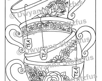 Stacked Teacups Coloring Page PDF