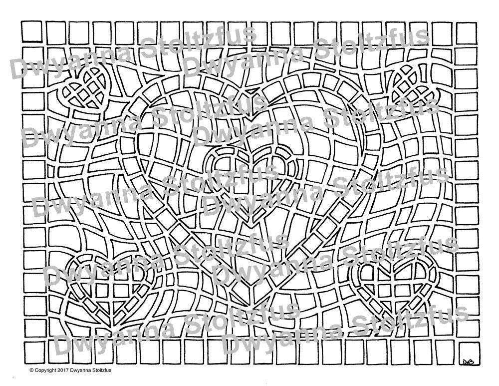 Mosaic Heart Coloring Page Jpg Etsy