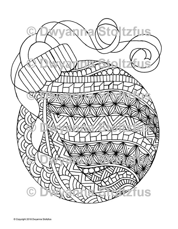 Tangled Christmas Ornament Coloring Page Jpg Etsy