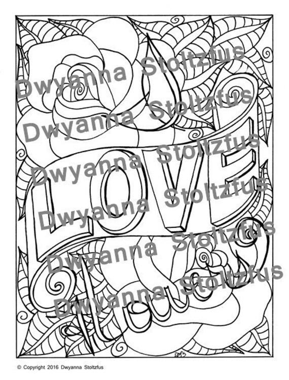 Amo I Fiori Da Colorare Page Jpg Etsy