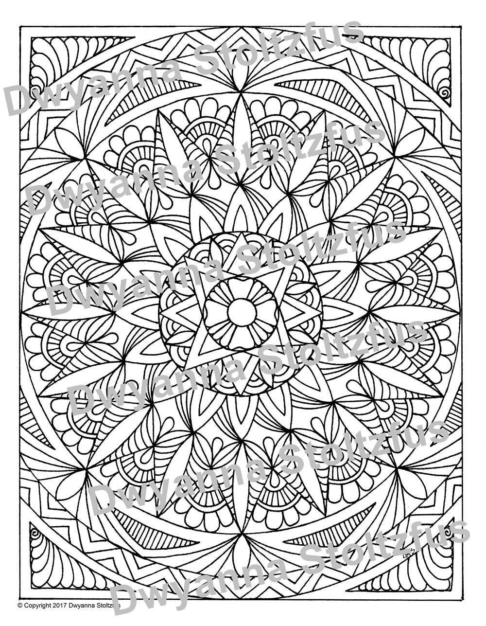 full page mandala 1 coloring page jpg etsy. Black Bedroom Furniture Sets. Home Design Ideas