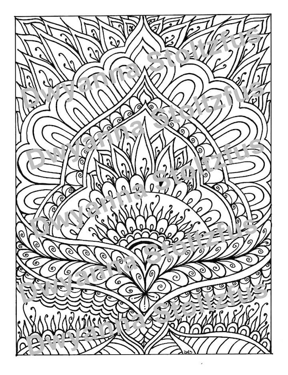 Henna Design Coloring Page Jpg Etsy