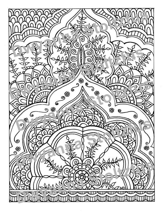 Henna Style Coloring Page Jpg Etsy