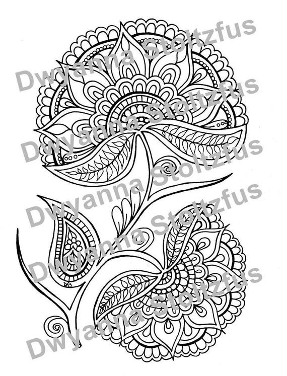 Henna Style Flower 2 Coloring Page Jpg Etsy