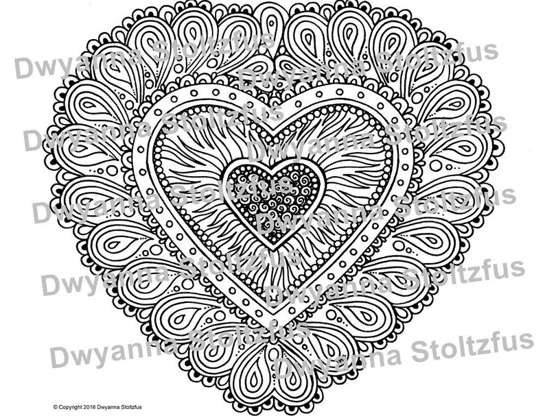 Paisley Heart Coloring Page JPG