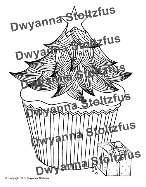 christmas cupcake coloring pages - photo#14