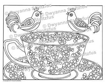 Cherry Blossoms Teacup Coloring Page PDF
