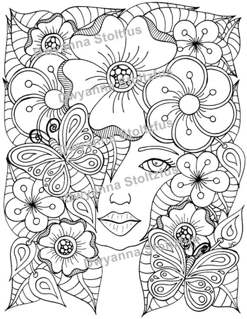 The Flower Girl Coloring Page JPG