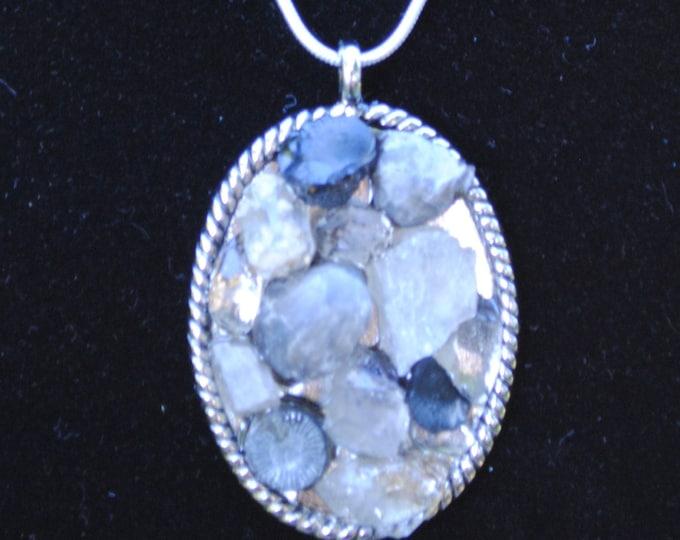 Herkimer Diamond/Fossil/Calcite Pendant
