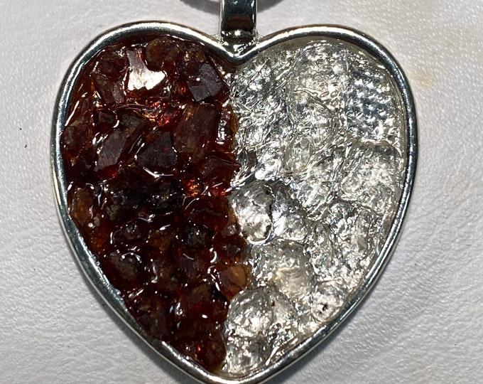 "1/2 Raw Garnet and 1/2 Herkimer ""Diamond"" Quartz chipped Heart pendant"
