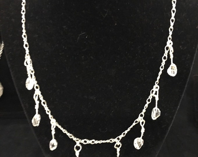 The Isadora Collection: Herkimer diamond drop earrings and matching Herkimer diamond necklace