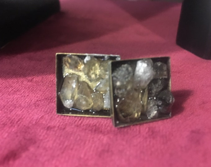 Herkimer Diamond Cuff Links- available in Silver Tone or Brass