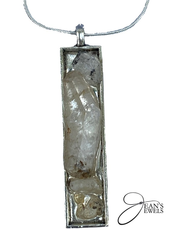 "Rectangular Herkimer ""Diamond"" chipped pendant"