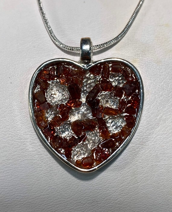Raw Garnet and Herkimer Diamond Heart Pendant