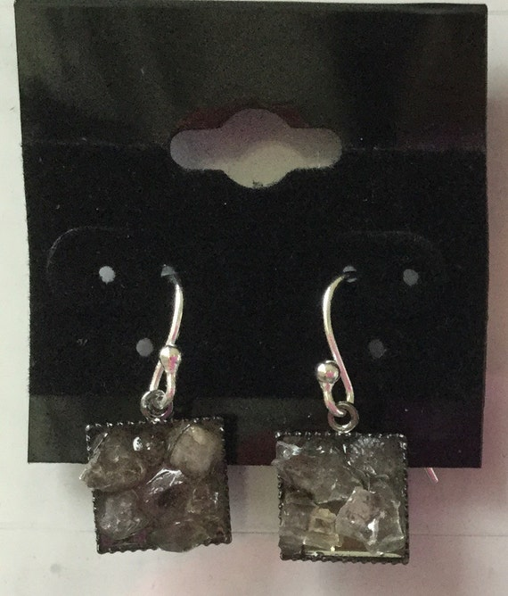 Square Gunmetal Herkimer Diamond chip earrings.