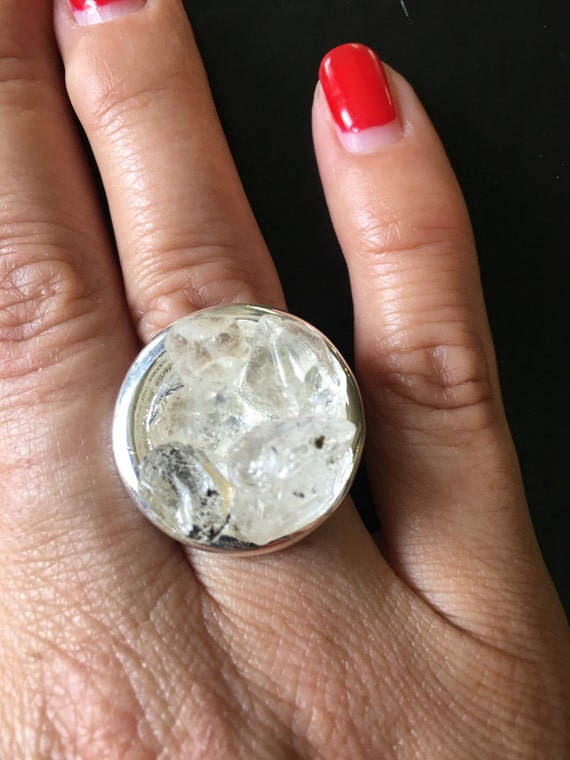 Circle Silver Cluster Herkimer Statement Ring