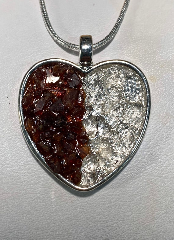 "1/2 Raw Garnet and 1/2 Herkimer ""Diamond"" Quartz chipped Heart pendant"
