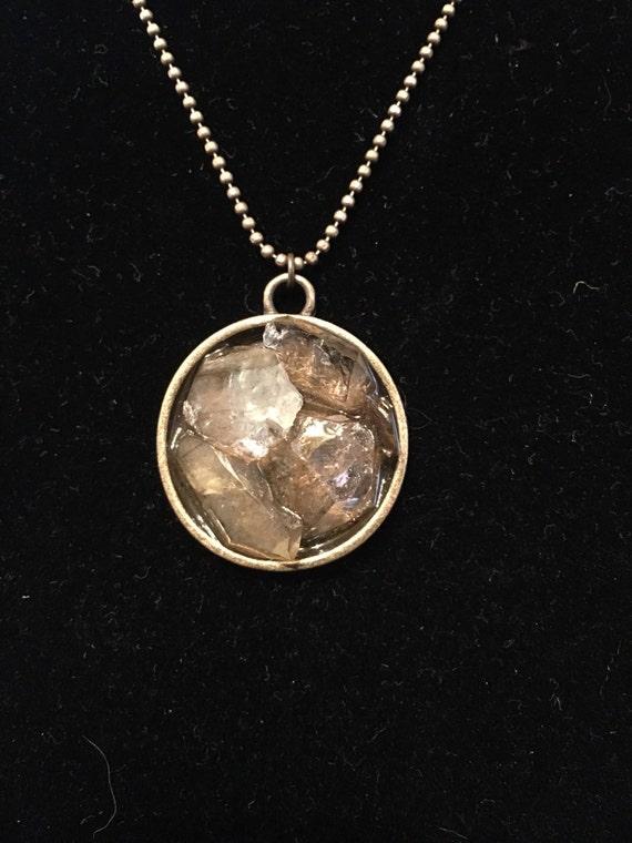 Brass bezel Herkimer pendant