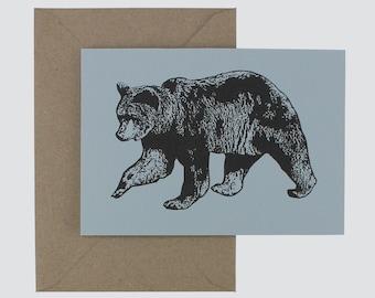 postcard, bear, animals, illustration, interior, linen, blue,  gift, boyfriend, birthday, handmade, card, envelope, recycled