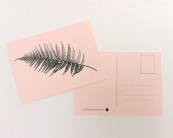 Pink linen postcard ' fern '.