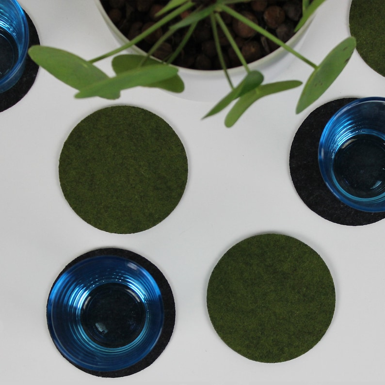 Coasters interior felt table pure round gift 5 pieces image 0