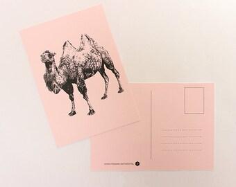 Pink linen postcard ' camel '.