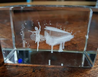Glass paperweight with ballet dancer and piano