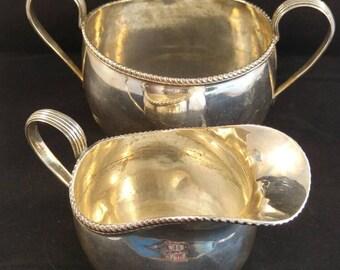 Cream jug and sugar bowl silver plated