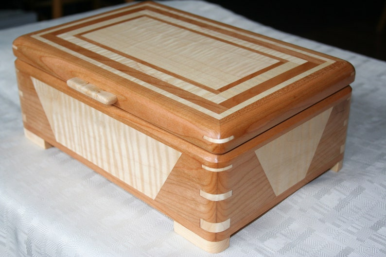 Cherry and Figured Maple Wood Jewelry Box 5th Anniversary image 0