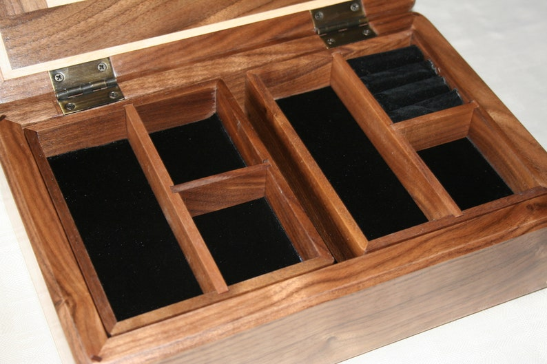 Wooden Jewelry Box American Walnut and Figured Maple 111RW Wood Jewelry Box Jewelry Box Organizer 5th Anniversary Gift for Her