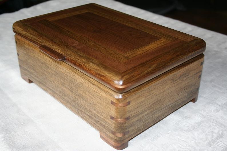 Wood Jewelry Box Black Limba with American Walnut Jewelry image 0