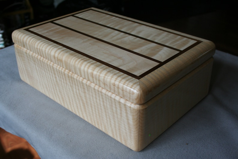 Wood Jewelry Box Figured Maple and Walnut trim Jewelry Box image 0