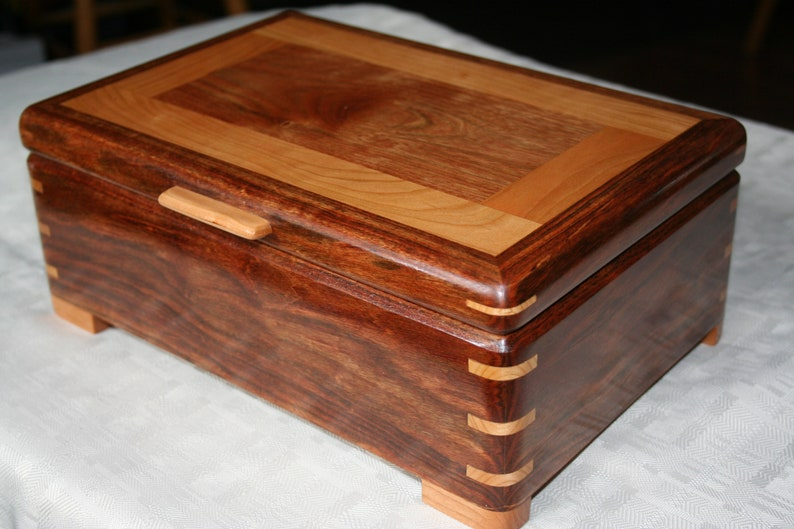 Caribbean Chechen Wood Jewelry Box with Cherry Trim Wooden image 0