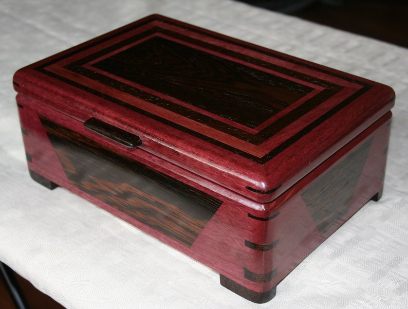Exotic Purple Heart and Wenge Wood Jewelry Box Wooden Jewelry image 0