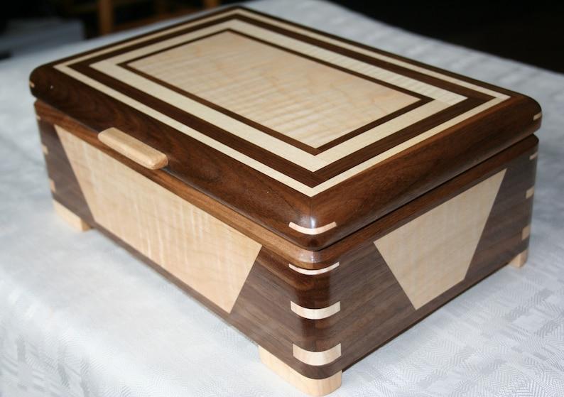 Walnut and Figured Maple and Wood Jewelry Box 5th Anniversary image 0