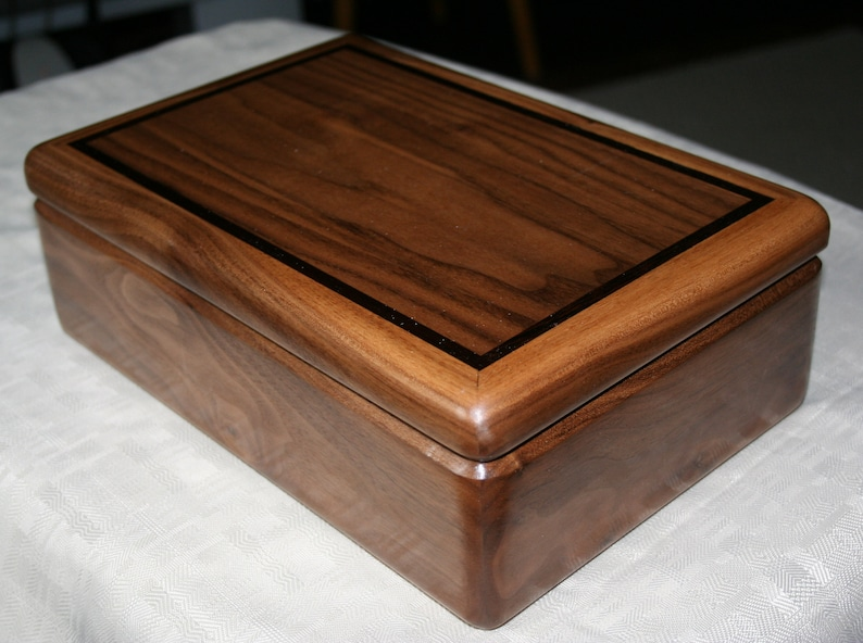 Black Walnut Jewelry Box Wood Jewelry Box 5th Anniversary image 0