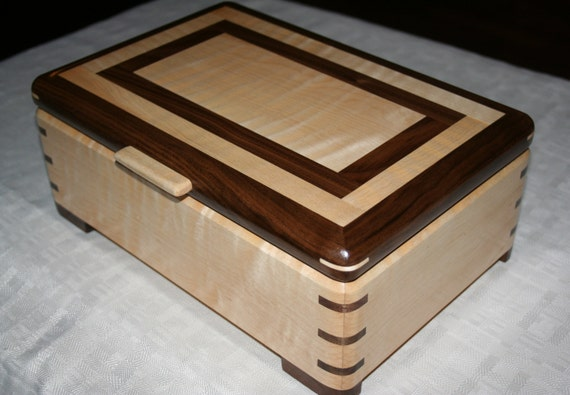 151 Maple and Walnut Box Gift for Wife Jewelry Box Gifts for Her Mother/'s Day Her Birthday Housewares Wedding Gifts Woodworking